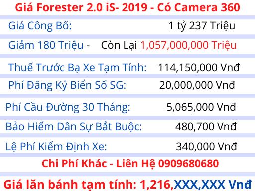 Giá lăn bánh Subaru Forester 2020
